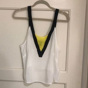 White and Neon Yellow Crop Top